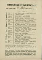 I Jeleniogórskie Spotkania Teatralne : 14-22 IX : Wrzesień Jeleniogórski 1968 - program [Dokument życia społecznego]