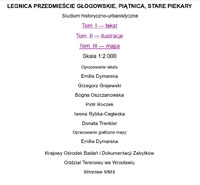 Legnica - Przedmieście Głogowskie, Piątnica, Stare Piekary : studium historyczno-urbanistyczne