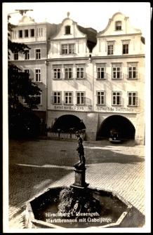 Hirschberg i. Riesengeb. Marktbrunnen mit Gabeljürge [Dokument ikonograficzny]
