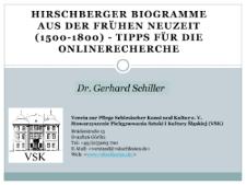 Hirschberger Biogramme aus der Frühen Neuzeit (1500-1800) - Tipps für die Onlinerecherche [Dokument ikonograficzny]