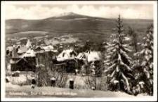 Szklarska Poręba - widok z dworca kolejowego na Szrenicę [Dokument ikonograficzny]