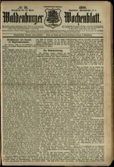 Waldenburger Wochenblatt, Jg. 36, 1890, nr 31