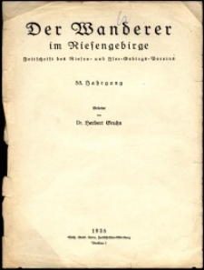 Der Wanderer im Riesengebirge, 1935, Inhaltsverzeichnis