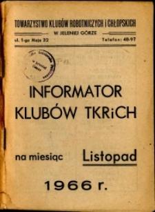 Informator Klubów TKRiCH, listopad 1966