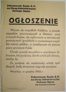 Ogłoszenie [Inc.: Wzywa się wszystkich Polaków, a przede wszystkim powracajacych z Niemiec ...]