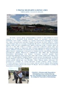 V Piknik Militarny Łomnica 2013. Rodzinny piknik z wojskowymi atrakcjami [Dokument elektroniczny]