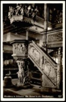 Jelenia Góra - Kościół pw. Podwyższenia Św. Krzyża (garnizonowy) - wnętrze - ambona (wyk. 1717 r.) - XVIII w. [Dokument ikonograficzny]