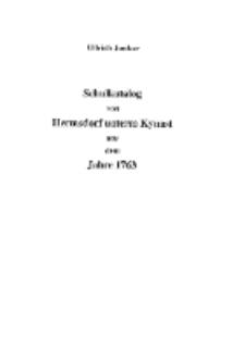 Schulkatalog von Hermsdorf unterm Kynast aus dem Jahre 1763 [Dokument elektroniczny]