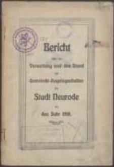 Bericht über die Verwaltung und den Stand der Gemeinde-Angelegenheiten der Stadt Neurodefür das Jahr 1918