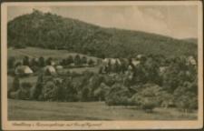 Zachełmie - panorama miejscowości, w głębi widoczny zamek Chojnik [Dokument ikonograficzny]