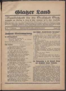 Glatzer Land, 1929, nr 8