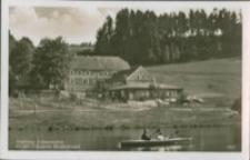 Złotniki Lubańskie - restauracja Finkenmühle nad zaporą - letni wypoczynek w kajaku [Dokument ikonograficzny]