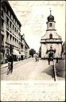 Hirschberg i. Schles. Bahnhofstrasse mit Marienkirche [Dokument ikonograficzny]