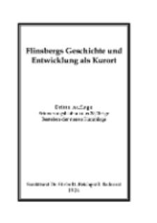 Flinsbergs Geschichte und Entwicklung als Kurort [Dokument elektroniczny]