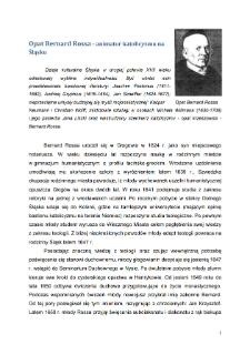 Opat Bernard Rossa - animator katolicyzmu na Śląsku