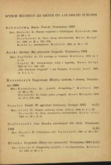 Wybór recenzji za okres 1.IV-30.XI.1964
