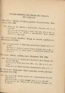 Wybór recenzji za okres 1.VII.1971-31.XII.1971