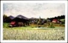 Janowice Wielkie - widok ogólny, w tle Góry Sokole [Dokument ikonograficzny]