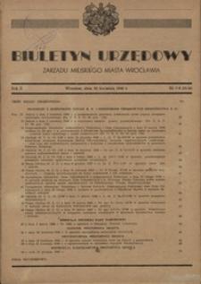 Biuletyn Urzędowy Zarządu Miejskiego Miasta Wrocławia, R. 2, 1948, nr 7/8 (15-16) [30 kwietnia]