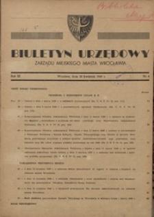 Biuletyn Urzędowy Zarządu Miejskiego Miasta Wrocławia, R. 3, 1949, nr 4 [30 kwietnia]
