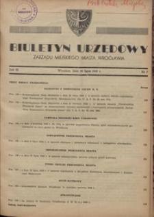 Biuletyn Urzędowy Zarządu Miejskiego Miasta Wrocławia, R. 3, 1949, nr 7 [30 lipca]