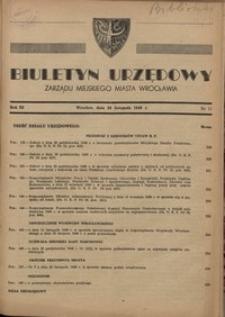 Biuletyn Urzędowy Zarządu Miejskiego Miasta Wrocławia, R. 3, 1949, nr 11 [20 listopada]
