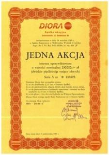 Jedna imienna akcja Diory, seria A zarejestrowana w dniu 14 września 1989 r.