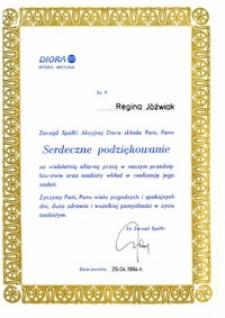 Podziękowanie za współpracę dla Renaty Jóźwiak od Spółki Akcyjnej Diora