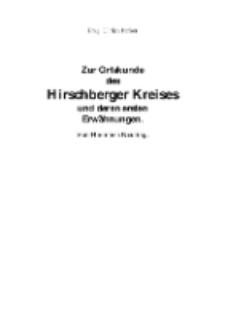 Zur Ortskunde des Hirschberger Kreises und deren ersten Erwähnungen. Von Hermann Neuling. [Dokument elektroniczny]