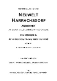 Neuwelt Harrachsdorf Andenken an die am 5. August 1902 stattgefundene Einweihung der von Seiner Erlaucht Johann Grafen von Harrach erbauten St. Elisabeth-Kapelle in Neuwelt [Dokument elektroniczny]