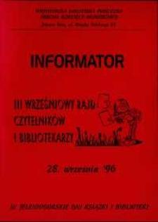 III Wrześniowy Rajd Czytelników i Bibliotekarzy - informator
