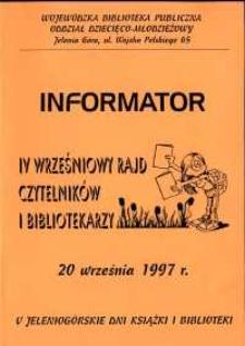 IV Wrześniowy Rajd Czytelników i Bibliotekarzy - informator