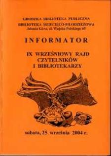 IX Wrześniowy Rajd Czytelników i Bibliotekarzy - informator