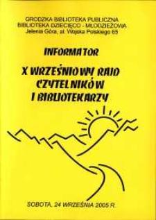 X Wrześniowy Rajd Czytelników i Bibliotekarzy - informator