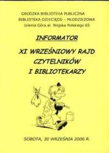 XI Wrześniowy Rajd Czytelników i Bibliotekarzy - informator