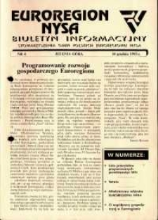 Euroregion Nysa : biuletyn informacyjny Stowarzyszenia Gmin Polskich Euroregionu Nysa, 1993, nr 4