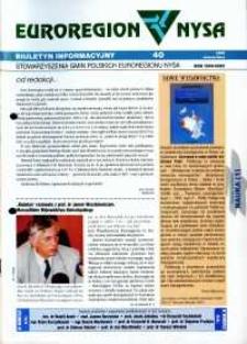 Euroregion Nysa : biuletyn informacyjny Stowarzyszenia Gmin Polskich Euroregionu Nysa, 1999, nr 40