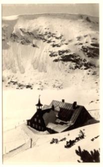 Karkonosze - widok na Schronisko Samotnia i fragment Małego Stawu zimą [Dokument ikonograficzny]