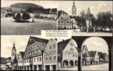 Der vier interessanten Marktansichten des Marktplatzes in Schönberg-Oberlausitz [Dokument ikonograficzny]
