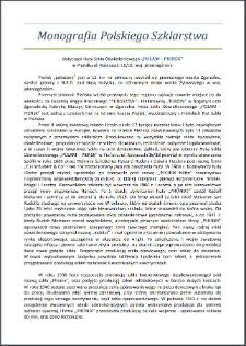 """Monografia polskiego szklarstwa: dotycząca Huty Szkła Oświetleniowego """"POLAM-PIEŃSK"""" [Dokument elektroniczny]"""