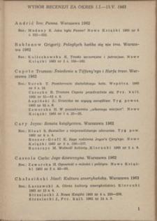 Wybór recenzji za okres 1.I-15.V.1963