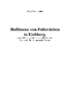 Hoffmann von Fallersleben in Eichberg. Zum 100jährigen Geburtstag des Dichters [Dokument elektroniczny]
