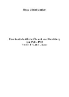 Eine handschriftliche Chronik von Hirschberg von 1740-1763 [Dokument elektroniczny]