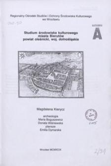 Studium środowiska kulturowego miasta Bierutów, powiat oleśnicki, woj. dolnośląskie