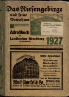 Adressbuch/Einowhnerbuch. Landkreis Hirschberg i. Rsg. Einschließlich der Stadt Schmiedeberg wie alle Gemeinden und Gutsbezirke aus dem Kreis : 1927