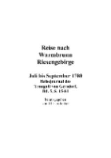 Reise nach Warmbrunn Riesengebirge : Juli bis September 1780 : Reisejournal des Traugott von Gersdorf, Bd. 5, S. 15-81 [Dokument elektroniczny]