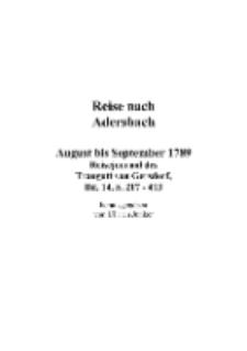 Reise nach Adersbach : August bis September 1789 : Reisejournal des Traugott von Gersdorf, Bd. 14, S. 217-413 [Dokument elektroniczny]