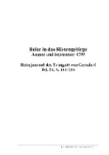 Reise in das Riesengebirge : August und September 1799 : Reisejournal des Traugott von Gersdorf, Bd. 24, S. 141-214 [Dokument elektroniczny]