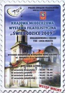 """Krajowa Młodzieżowa Wystawa Filatelistyczna """"Świebodzice 2009"""" : organizowana z okazji 730-lecia miasta"""