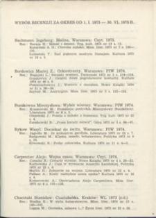Wybór recenzji za okres 1.I.1975-30.VI.1975